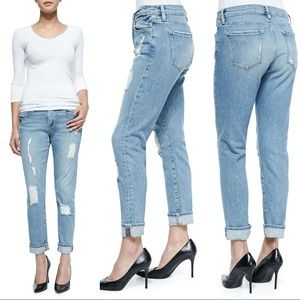 FRAME Le Garcon Distressed Rolled Cuffs Jeans 27
